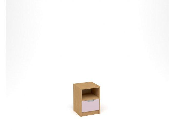 Noční stolek, 1 zásuvka s nikou - buk, levandulová