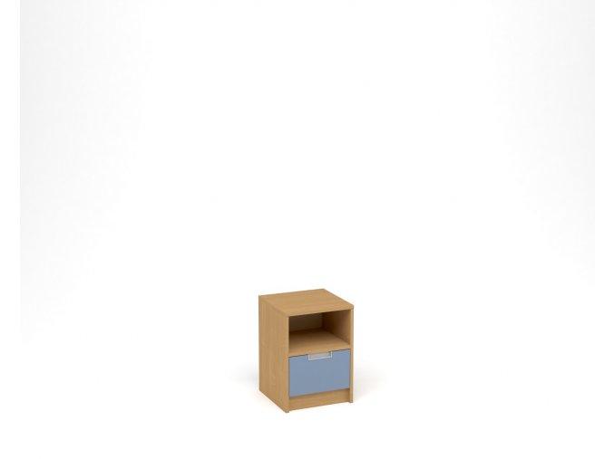 Noční stolek, 1 zásuvka s nikou - buk, modrá