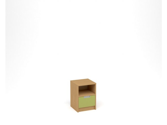 Noční stolek, 1 zásuvka s nikou - buk, zelená