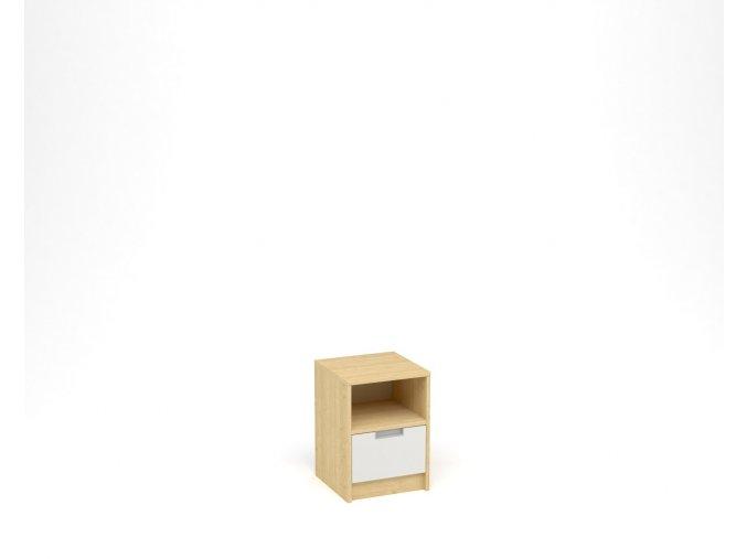 Noční stolek, 1 zásuvka s nikou - javor, bílá