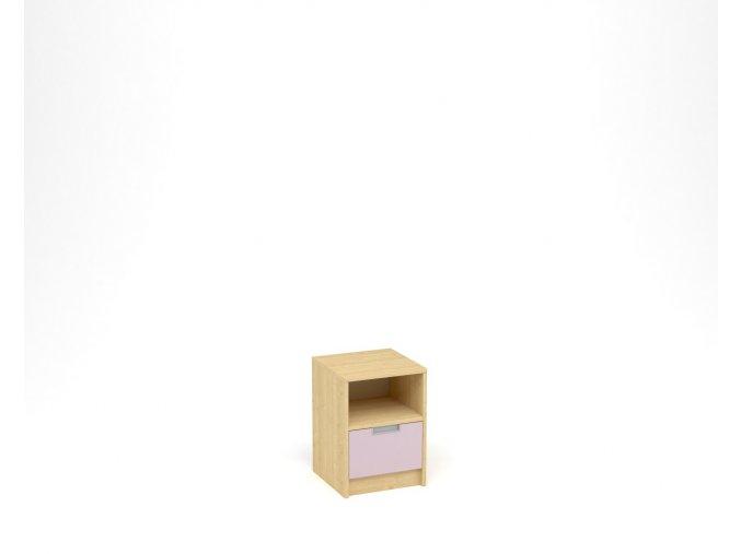 Noční stolek, 1 zásuvka s nikou - javor, levandulová