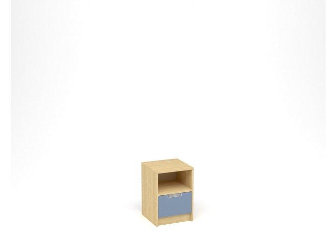 Noční stolek, 1 zásuvka s nikou - javor, modrá