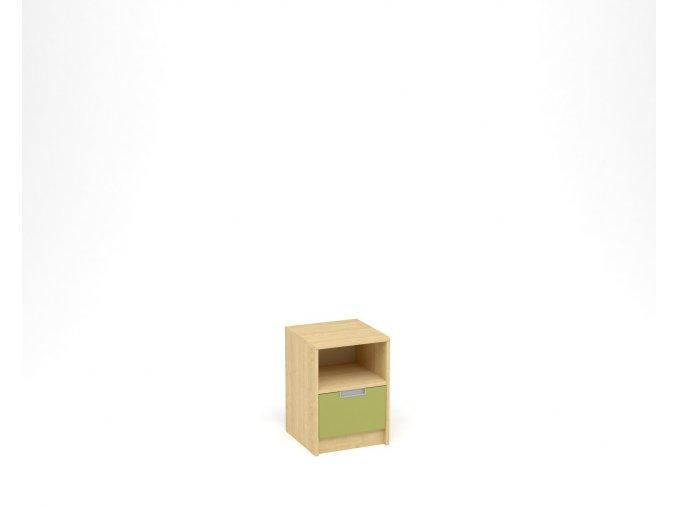Noční stolek, 1 zásuvka s nikou - javor, zelená