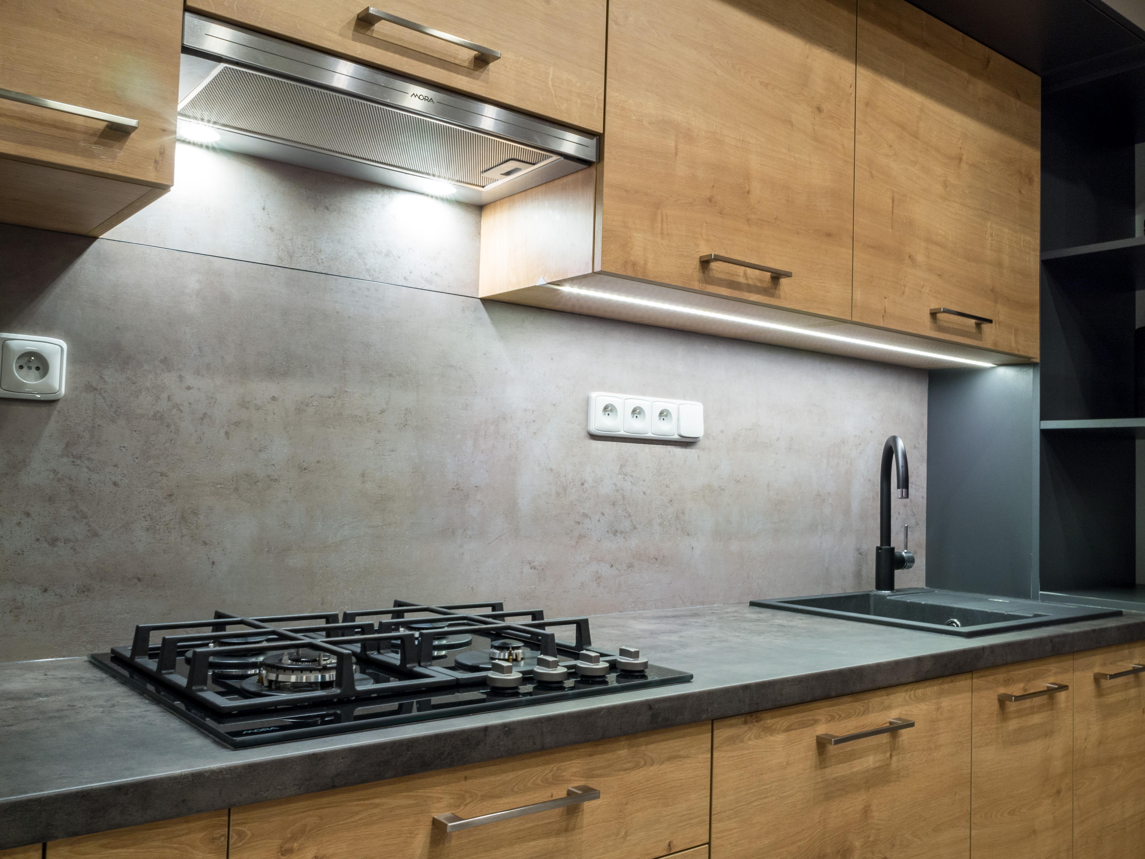 Kuchyňská linka dub / antracit / beton
