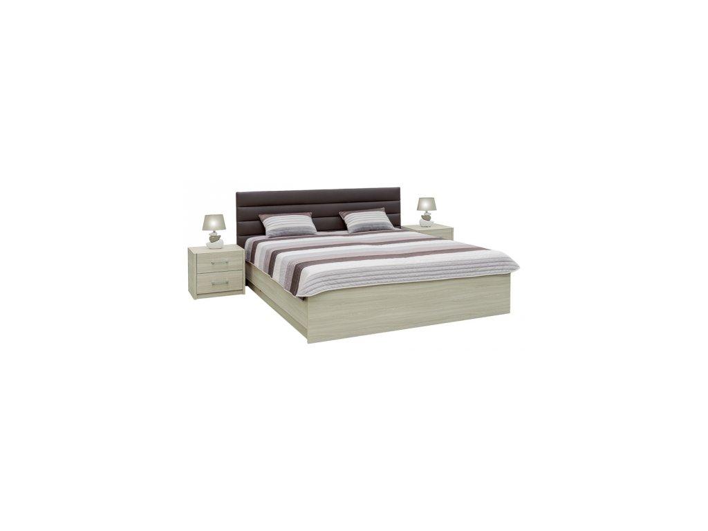 Manželská postel MIA + 2 polohovací lamelové rošty