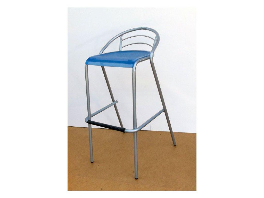 Barová židle LOLA s modrým sedákem VÝPRODEJ