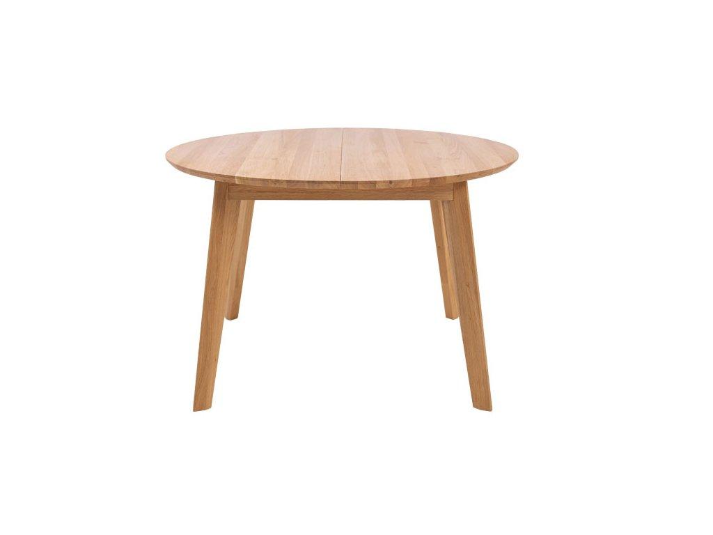 Kulatý rozkládací jídelní stůl SAGA průměr z dubového masivu s průměrem 120 cm