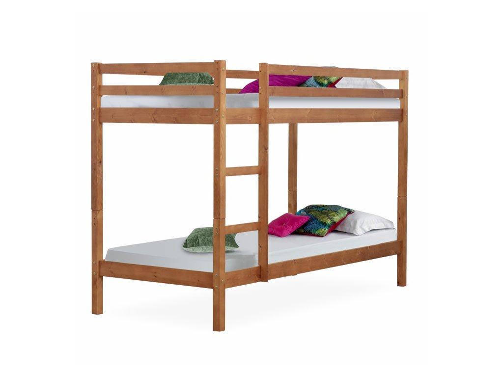 Patrová postel, borovicové dřevo světlehnědá, VERSO
