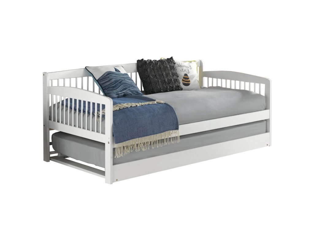 Dětská rozkládací postel s přistýlkou, bílá, masiv, PEDREZA