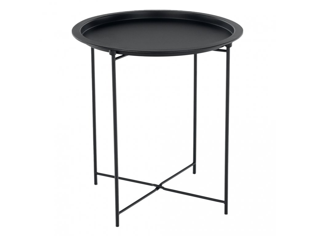 Příruční stolek s odnímatelnou tácem, černá, RENDER