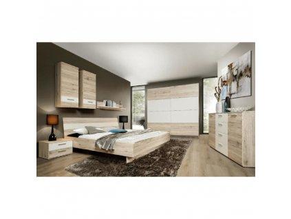 Ložnicová sestava (skříň / postel / 2ks noční stolek), dub písková / bílá, VALERIA
