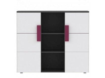Kombinovaná komoda, šedá/bílá/fialová, LOBETE 43