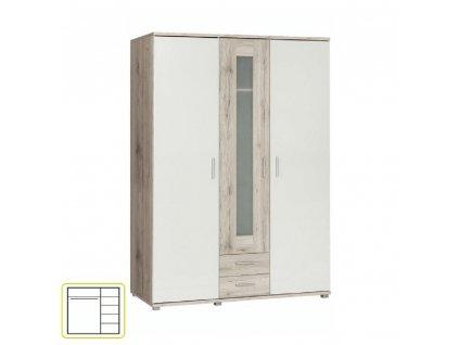 Věšáková skříň s policemi, dub pískový / bílá, VALERIA 93