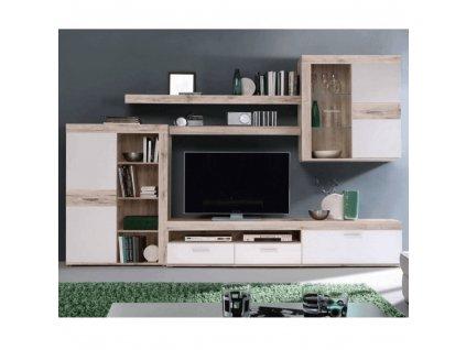 Obývací stěna, dub písková / bílá, VALERIA