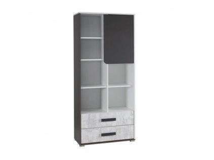 Kombinovaná skříň, bílá/šedý grafit/enigma, MATEL