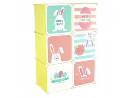 Dětská modulární skříňka, zelená/dětský vzor, TEKIN