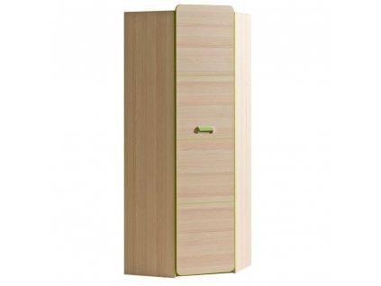Rohová skříň, věšáková, jasan / zelená, EGO L14