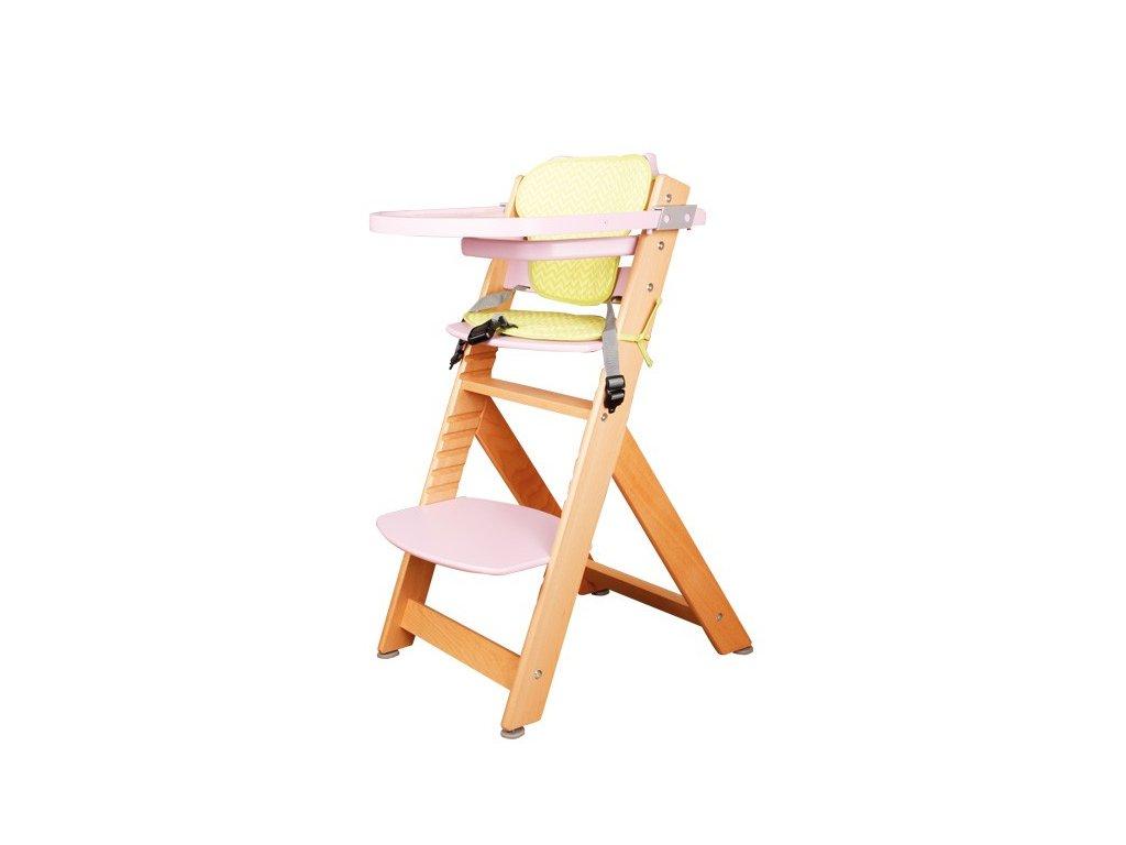 Židle dětská rostoucí přírodní/růžová