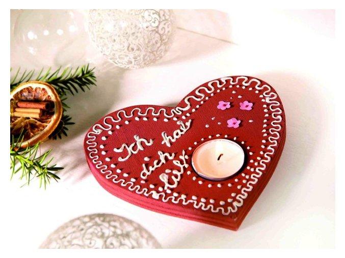 Stojan na svíčku ve tvaru srdce