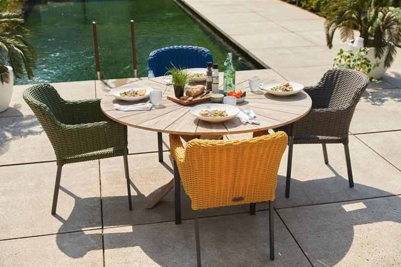 Léto pro milovníky designu. Židle, co vám sednou, pohoda ve stínu pod slunečníky a hvězdné grilování