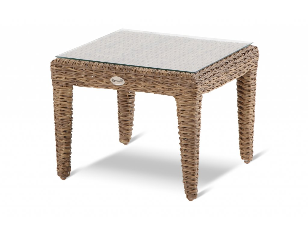 ratanový stolek se sklem