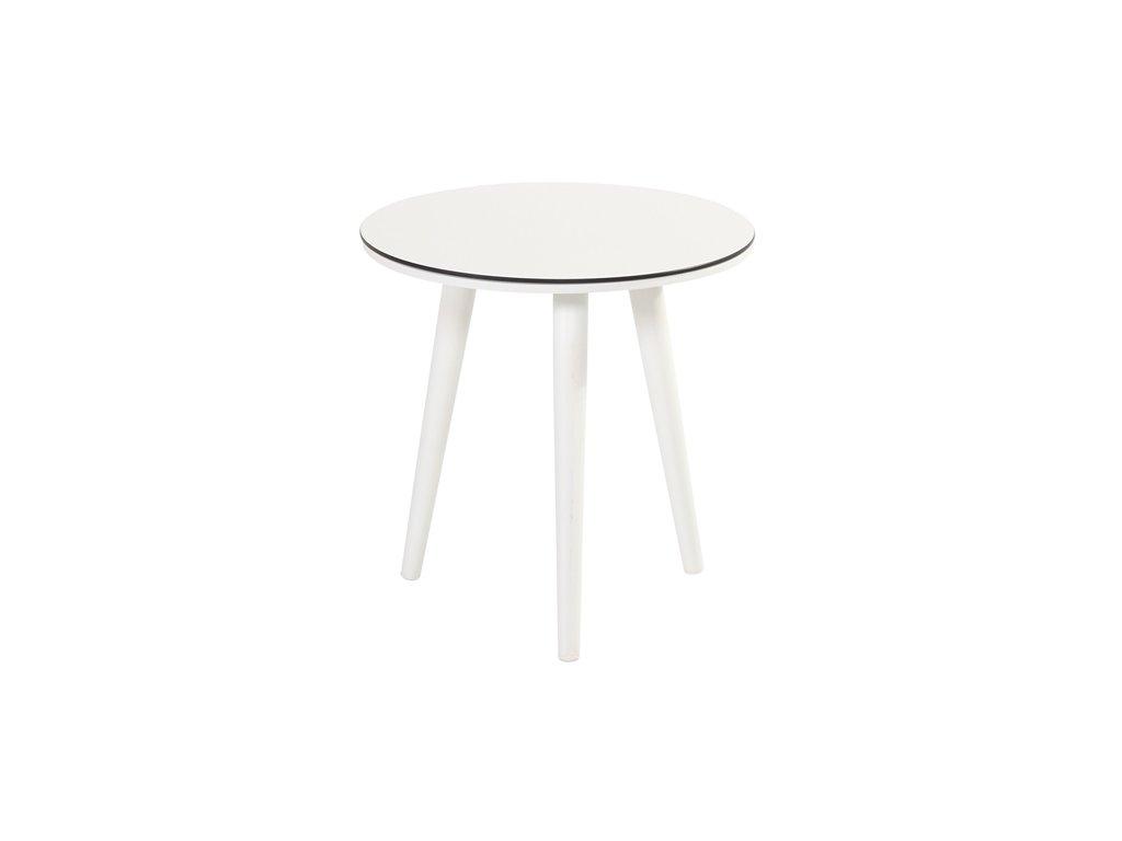 kulatý boční stolek white