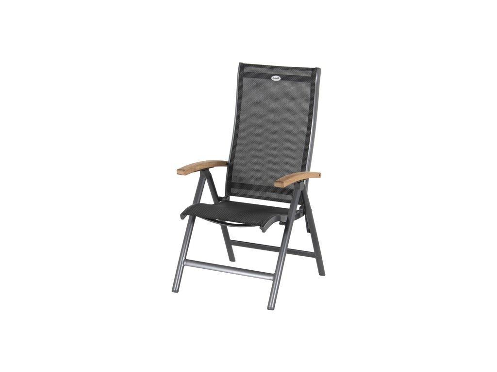 hliníková polohovací židle Hartman s teakovými područkami