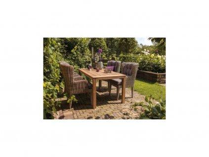 zahradní nábytek z umělého ratanu a teaku