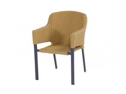 ratanová židle half oval yellow