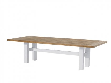 velký jídelní stůl s dřevěnou deskou a bílé podnoží