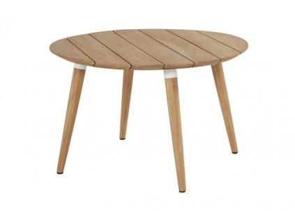 kulatý dřevěný venkovní stůl