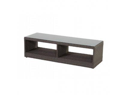ratanový stolek nízký se sklem