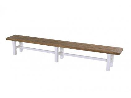 Zahradní lavice 300 cm bíla podnož
