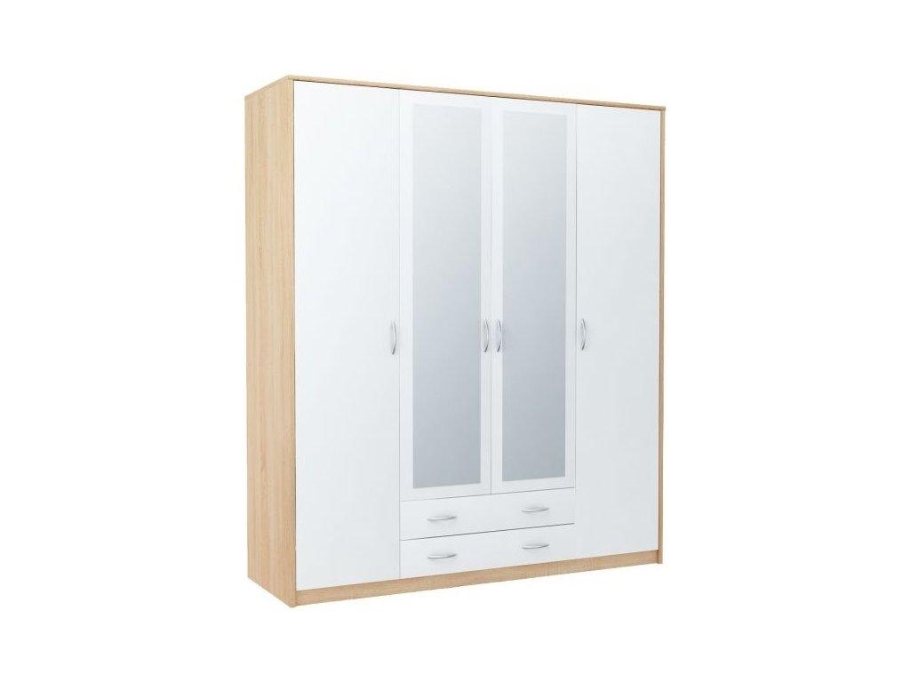 Šatní skříň VIKA 4D2S dub sonoma/bílá