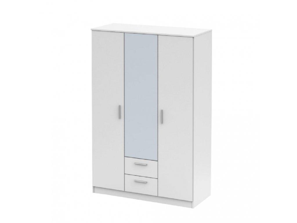 Třídveřová skříň se zrcadlem, bílá, NOKO-SINGA 82