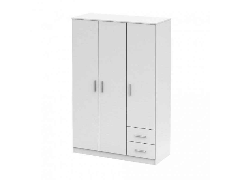 Třídveřová skříň, bílá, NOKO-SINGA 84