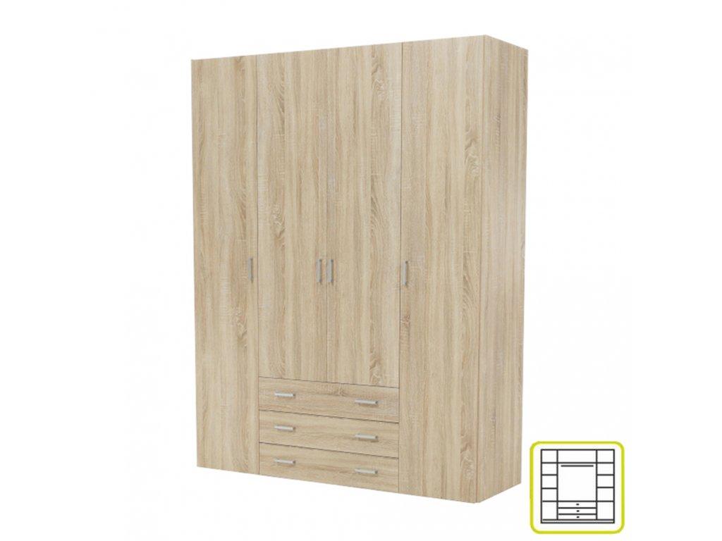 Skříň, 4 - dveřová, dub sonoma, GWEN 70429