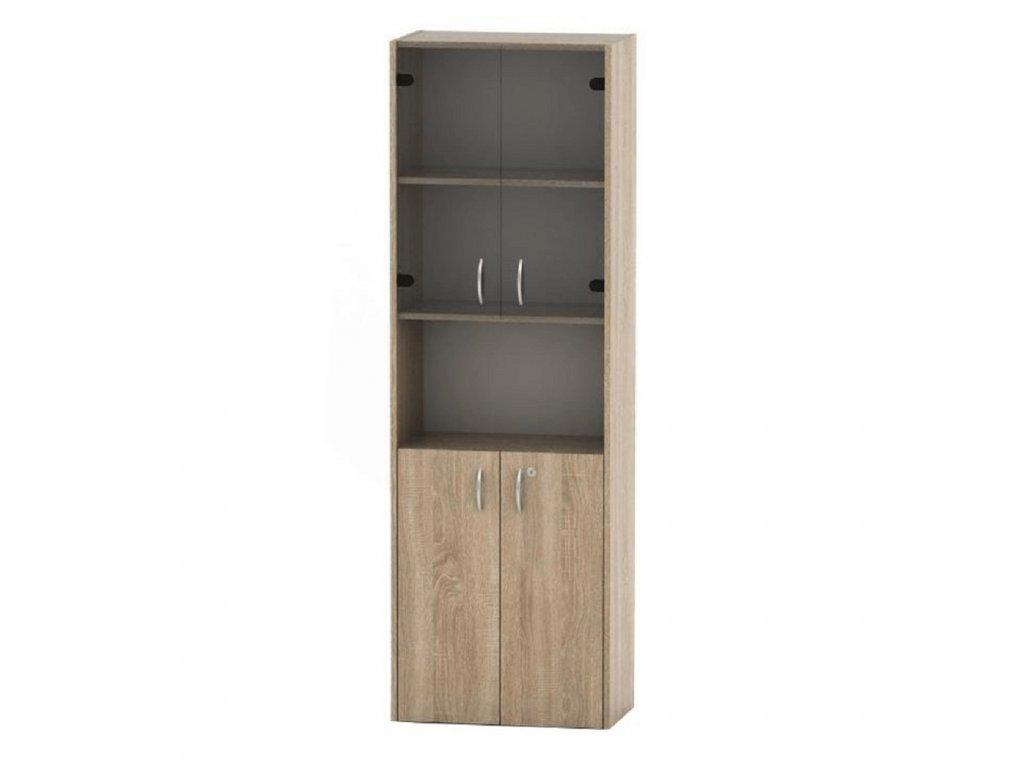 olicová skříňka s vitrínou, dub sonoma, TEMPO ASISTENT NEW 004