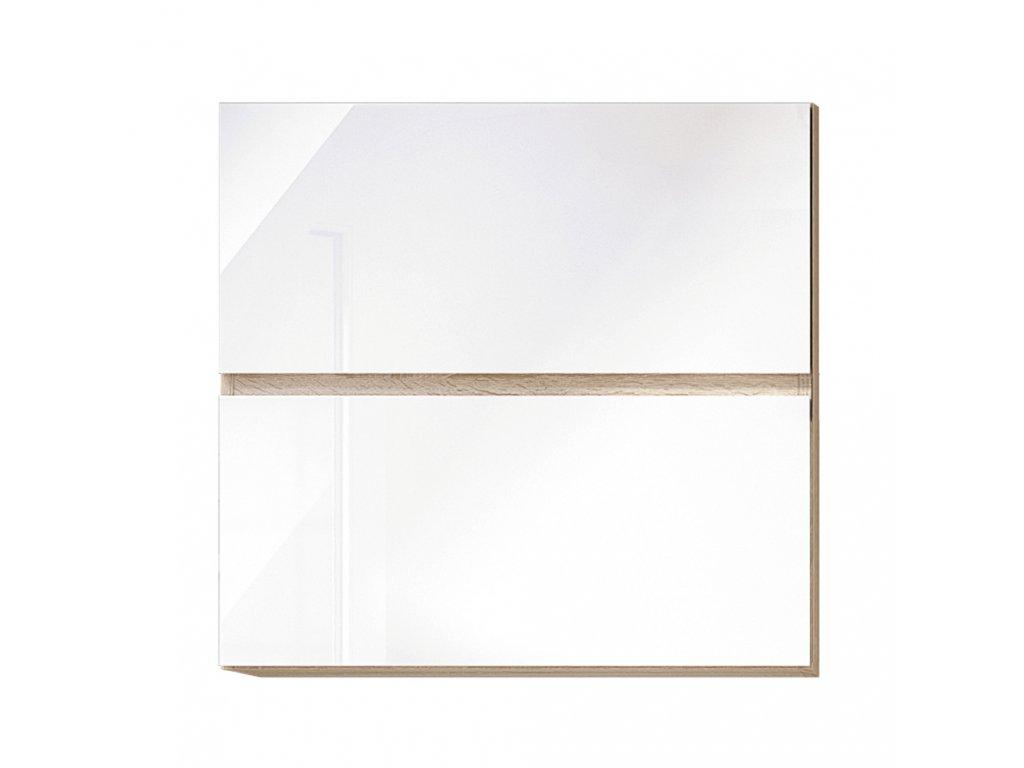 Horní skříňka G 60 U, vysoký bílý lesk/dub sonoma, LINE