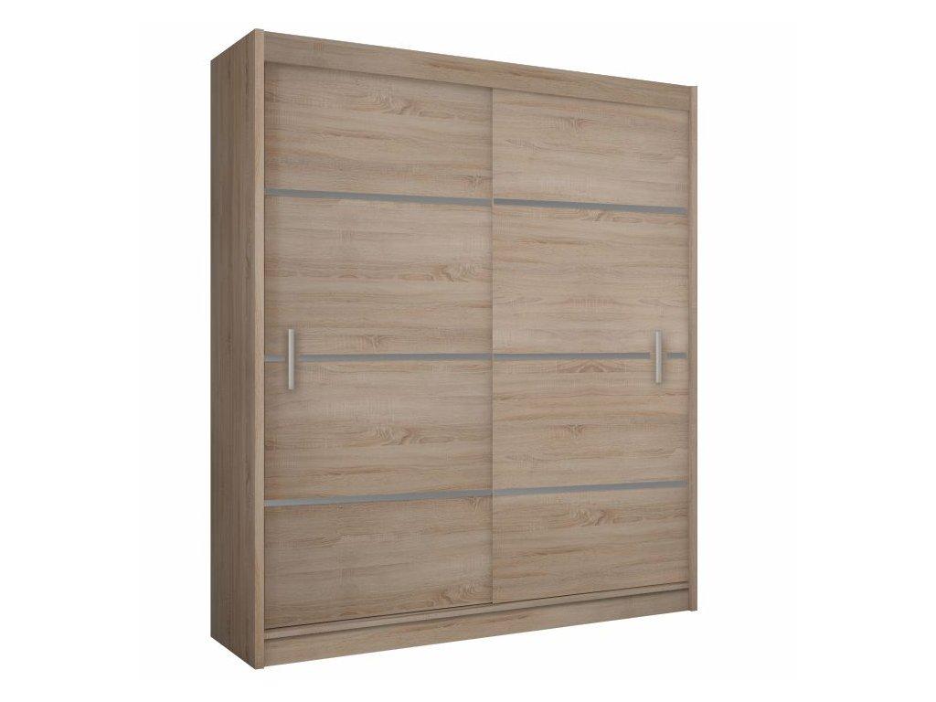 Skříň s posuvnými dveřmi, dub sonoma / šedá, Merina 203
