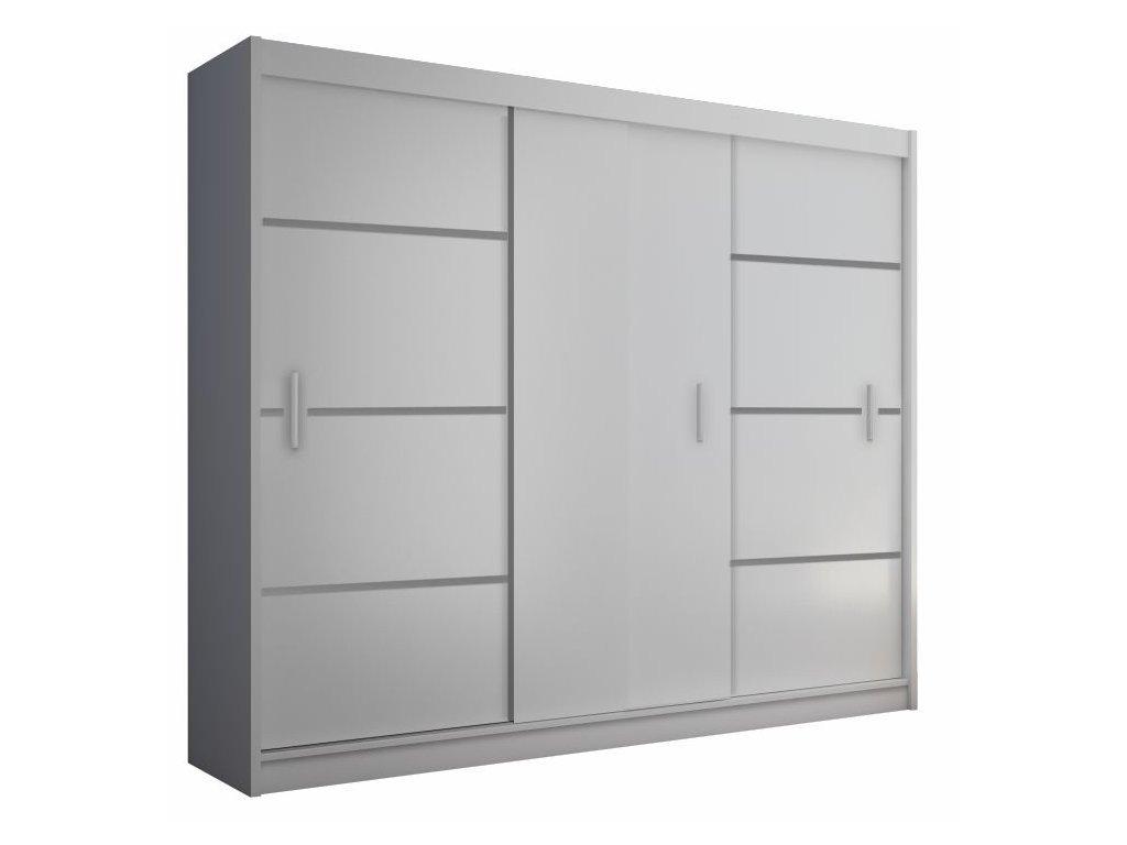 Skříň s posuvnými dveřmi, bílá / černá, Merina 250