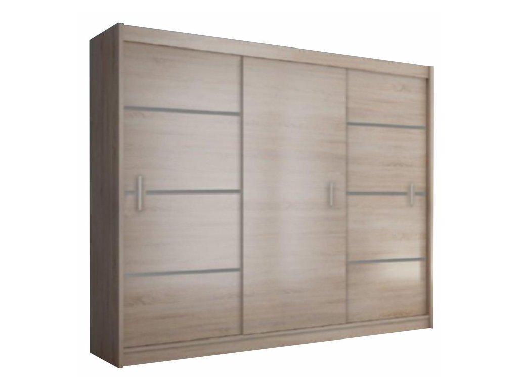 Skříň s posuvnými dveřmi, dub sonoma / šedá, Merina 250