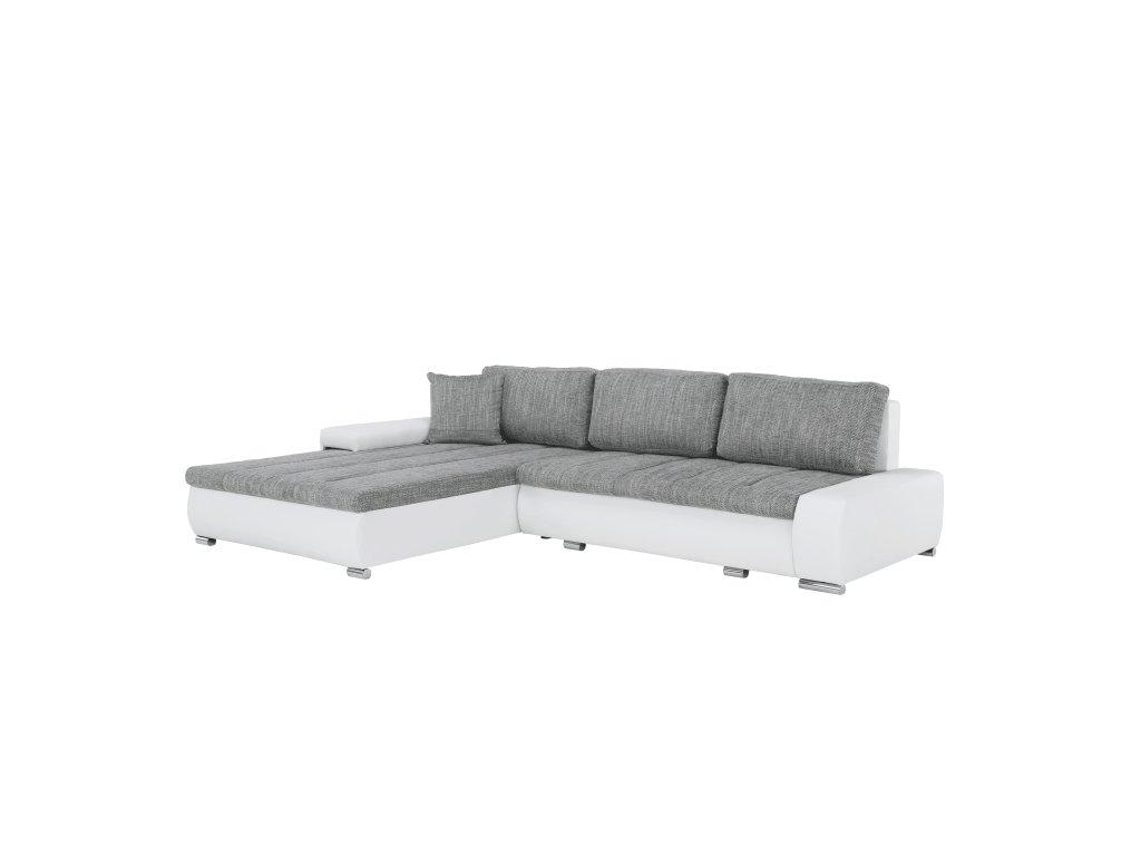 Sedací souprava s úložným prostorem, univerzální, ekokůže bílá / látka Berlin 01 šedý melír, TONIKS