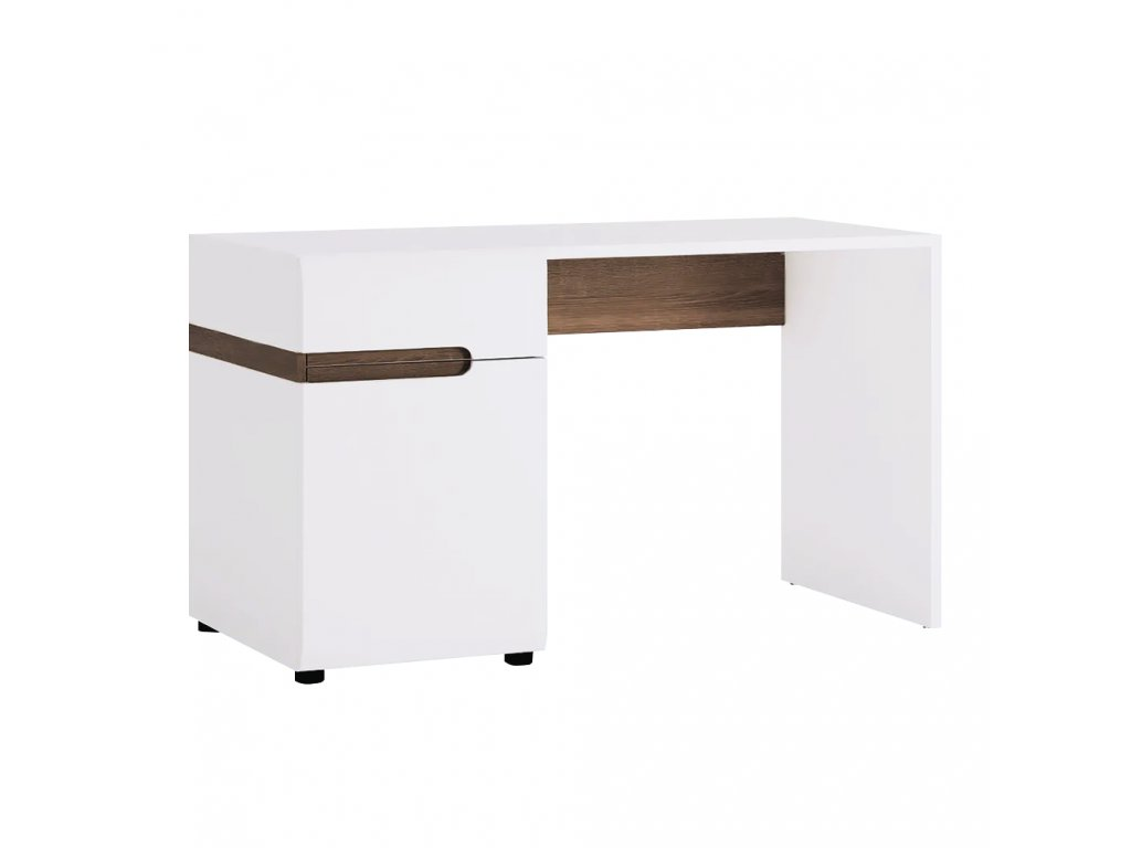 PC stůl, bílá extra vysoký lesk HG / dub sonoma tmavý truflový, LYNATET TYP 80