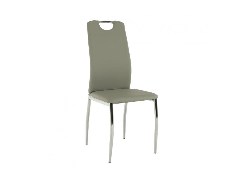 Jídelní židle, ekokůže šedá / chrom, ERVINA