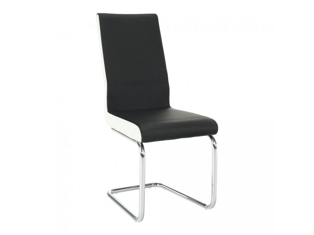 Židle, ekokůže černá / bílá + chrom, Neana