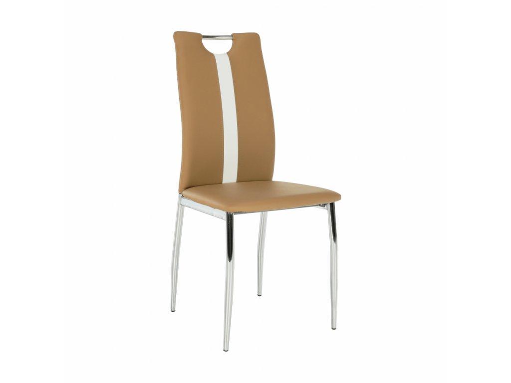 Židle, béžová / bílá ekokůže + chrom nohy, SIGNA