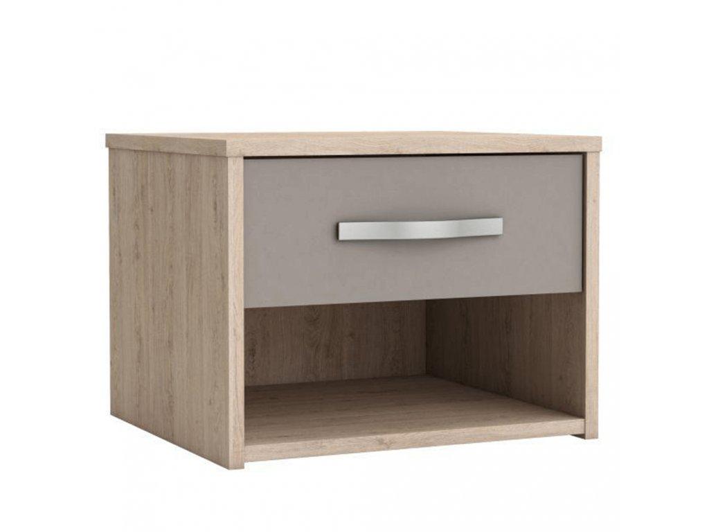 Noční stolek se zásuvkou, dub arizona / šedá, GRAPHIC
