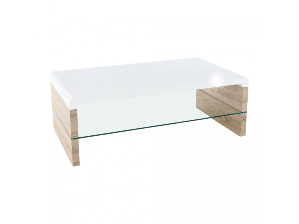 Konferenční stolek, dub sonoma / bílá extra vysoký lesk HG, KONTEX 2 NEW