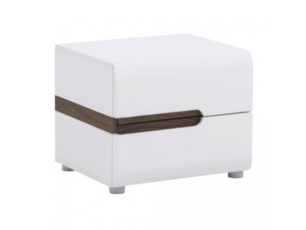 Noční stolek, bílá extra vysoký lesk HG / dub sonoma tmavý truflový, LYNATET TYP 96